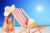 image of ball cap  - Beach chair with ball - JPG