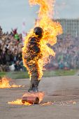 MOSCOW - AUG 25: Man on fire stunt shows on Festival of art and film stunt Prometheus in Tushino on