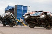 MOSCOW - AUG 25: Cars traveling on two wheels on Festival of art and film stunt Prometheus in Tushin