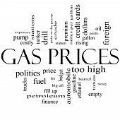 Los precios de gas nube palabra concepto en blanco y negro