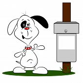 A cartoon dog next to a litter bin
