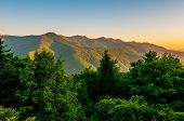 stock photo of asheville  - Blue Ridge Parkway Scenic Landscape Appalachian Mountains Ridges Sunrise Layers over Great Smoky Mountains - JPG