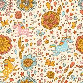 Cute floral seamless pattern with small rainbow unicorns. Romantic fantasy garden with beautiful flo