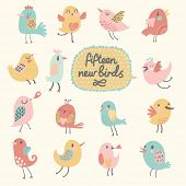 Cute birds in vector. Cartoon set, Fifteen funny birds in pastel colors