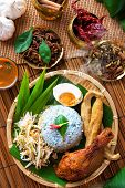 Traditional Malaysian food, Asian cuisine. Nasi kerabu is a type of nasi ulam, popular Malay rice di