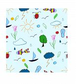 stock photo of lightning bugs  - Hand draw summer holiday beach seamless pattern - JPG