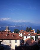 Town and lake Maggiore, Stresa, Italy.