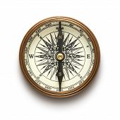 image of longitude  - Vintage brass compass isolated on white background - JPG