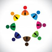 Concept Vector Graphic- Colorful Company Executives Ring Icons(signs)