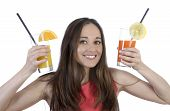 Pretty Woman With Two Drinks