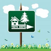 Youth hostel signpost