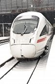 High Speed Train In Station In Wintertime