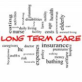 picture of hospice  - Long Term Care Word Cloud Concept in red caps with great terms such as insurance policy costs elderly age and more - JPG
