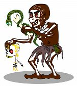 stock photo of witch-doctor  - Voodoo shaman vector - JPG