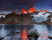 Laguna de Los Tres and mount Fitz Roy, Dramatical sunrise, Patagonia, Argentina