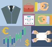 Flat Set Icons Finance And Business Agreement Strategy Concept In Vector