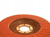 foto of abrasion  - grinding abrasive disc for metal on white background - JPG