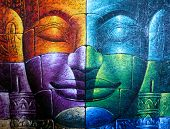 Colored Cambodian Buddha Face
