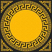 image of greek  - set Traditional vintage golden square and round Greek ornament  - JPG