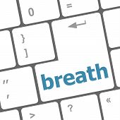 pic of breath taking  - Button with breath on Computer Keyboard - JPG
