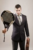 Young Business Man Like Play Paddle Tennis