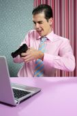 Businessman Young Shooting Handgun Computer