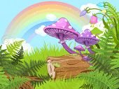 image of fern  - Fantasy landscape with mushrooms and flowers - JPG