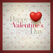 Vector retro Valentine's Day greeting card design template with wrinkled paper background. Elements are layered separately in vector file.