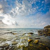Seascape. Scenic View Of Waves And Clouds. Black Sea, Anapa, Russia
