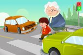 image of zebra crossing  - A vector illustration of kid helping senior lady crossing the street - JPG