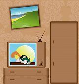 Cartoon with TV-set