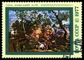 Vintage  Postage Stamp.  Workers  Quarry  In  By Rubens.