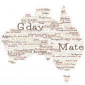 picture of slang  - Australia Map Made From Australian Slang Words In Vector Format - JPG