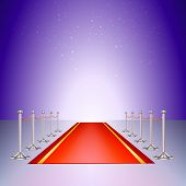 Red carpet entrance with the stanchions and the ropes
