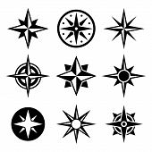 stock photo of rose  - Compass and wind rose icons set - JPG