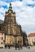 The West Facade Of St. Vitus Cathedral In Prague (czech Republic)