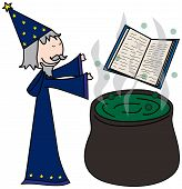 foto of sorcerer  - Cartoon style illustration of a sorcerer casting spells - JPG