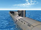foto of u-boat  - Computer generated 3D illustration with a Russian Nuclear Submarine of the cold war - JPG
