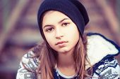 Beauty Teenage Girl In Hat Outdoors
