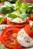 Plate of Healthy Classic Caprese Salad with Mozzarella Cheese, Tomatoes and Basil