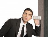 stock photo of pry  - Concept of businessman spy secrets on business - JPG