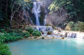 picture of waterfalls  - Tad Kwang Sri Waterfall this waterfall was considered to be the most beautiful waterfall in Asia - JPG