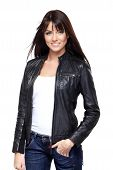 foto of straight jacket  - Glamorous young woman in black leather jacket on white background - JPG