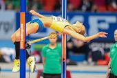 GOTHENBURG, SWEDEN - MARCH 3 Ebba Jungmark (Sweden) places 2nd in the women's high jump finals during the European Athletics Indoor Championship on March 3, 2013 in Gothenburg, Sweden.