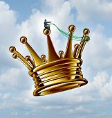 stock photo of take responsibility  - Leadership guidance business concept as a businessman directing a golden flying king crown with a harness as a success metaphor for taking charge and planning a winning strategy on a sky background - JPG
