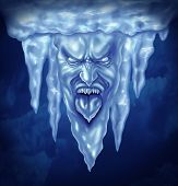 picture of freezing temperatures  - Deep freeze and extreme cold weather concept as a group of icicles in the shape of an intense frozen human expression made of ice as a metaphor for below zero winter temperatures - JPG