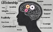 stock photo of clever  - Female Brain and Outline with Positive Words of Leadership - JPG