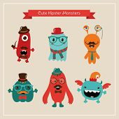 stock photo of halloween characters  - Vector Freaky Cute Retro Hipster Monsters - JPG