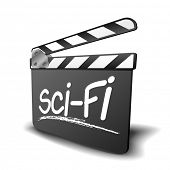 detailed illustration of a clapper board with Sci-Fi term, symbol for film and video genre