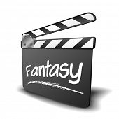 detailed illustration of a clapper board with fantasy term, symbol for film and video genre